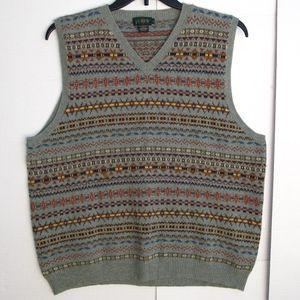 J. Crew Fair Isle Lambswool Sweater Vest Sage XL